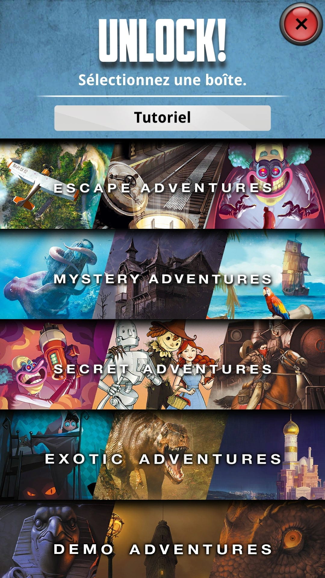 unlock escape adventures Menu application